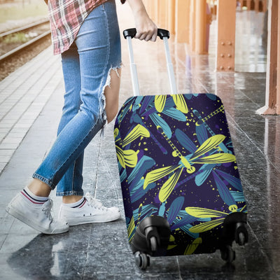 Dragonfly Lime Blue Print Pattern Luggage Cover Protector