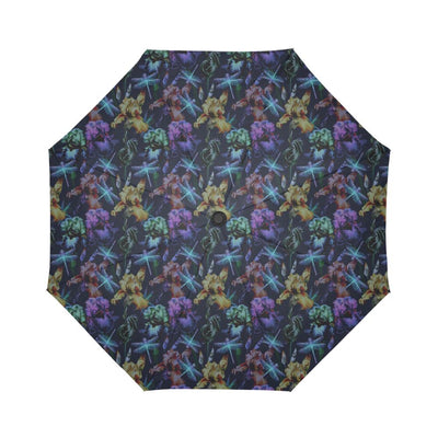 Dragonfly With Floral Print Pattern Automatic Foldable Umbrella