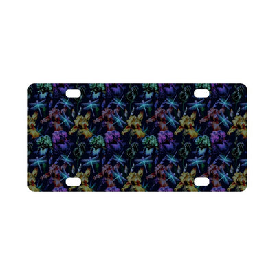 Dragonfly With Floral Print Pattern Classic License Plate-JTAMIGO.COM
