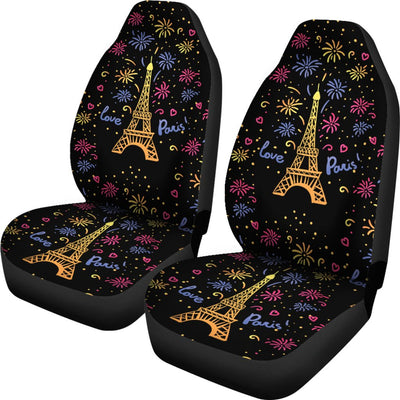 Eiffel Tower Love Paris Print Universal Fit Car Seat Covers