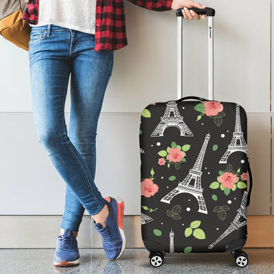 Eiffel Tower Rose Print Luggage Cover Protector