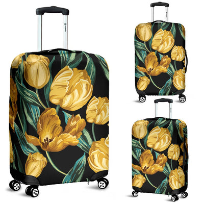 Elegant Yellow Tulip Print Luggage Cover Protector