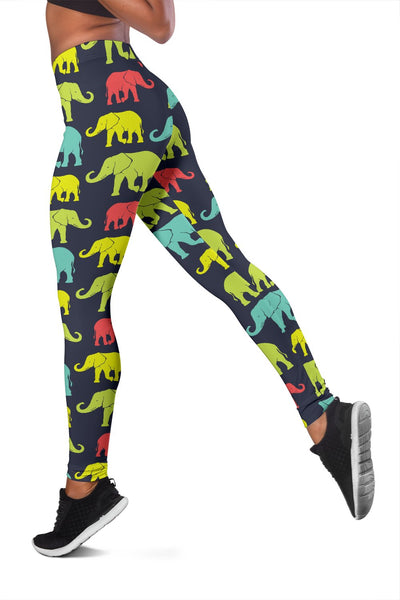 Elephant Neon Color Print Pattern Women Leggings