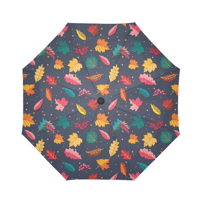 Elm Leave Colorful Print Pattern Automatic Foldable Umbrella