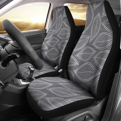 Elm Leave Grey Print Pattern Universal Fit Car Seat Covers