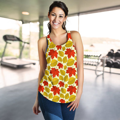 Elm Maple Leave Print Pattern Women Racerback Tank Top