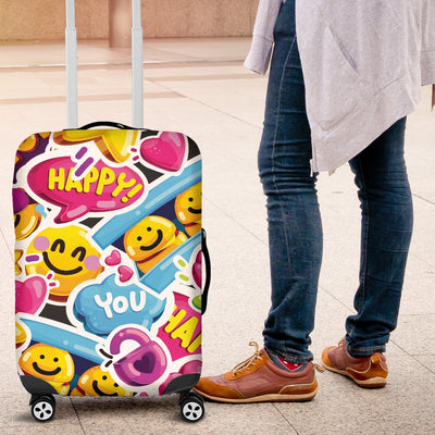 Emoji Sticker Print Pattern Luggage Cover Protector