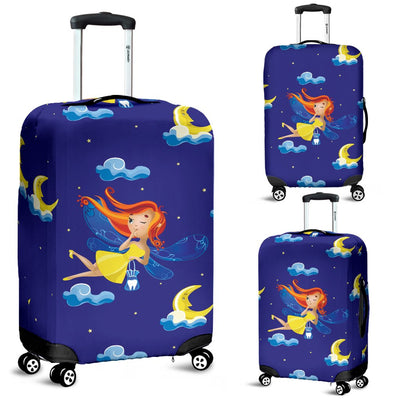 Fairy With Moon Print Pattern Luggage Cover Protector