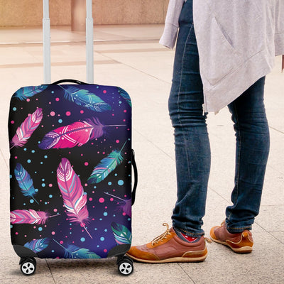 Feather Colorful Boho Design Print Luggage Cover Protector