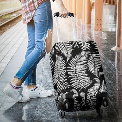 Fern Leave Black White Print Pattern Luggage Cover Protector