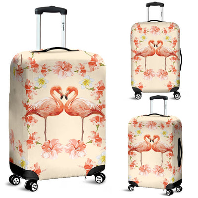 Flamingo Hibiscus Print Pattern Luggage Cover Protector