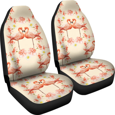 Flamingo Hibiscus Print Pattern Universal Fit Car Seat Covers