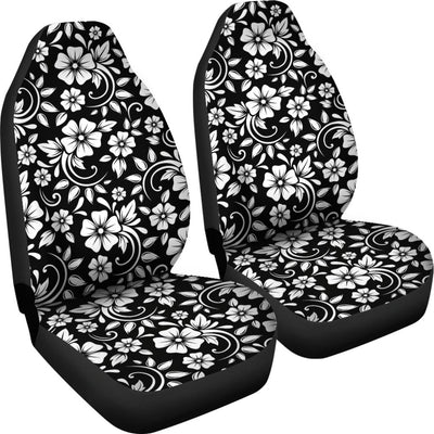 Floral Black White Themed Print Universal Fit Car Seat Covers