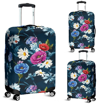 Floral Blue Themed Print Luggage Cover Protector