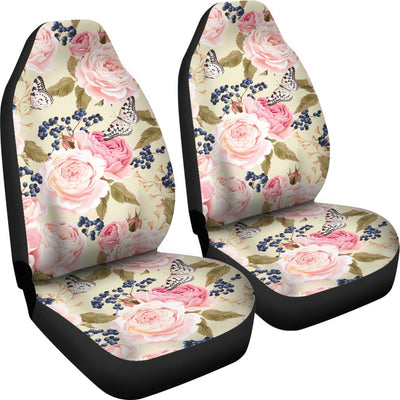 Floral Pink Butterfly Print Universal Fit Car Seat Covers
