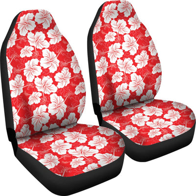 Flower Hawaiian Hibiscus Red Background Print Universal Fit Car Seat Covers