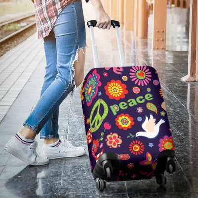 Flower Power Peace Design Print Luggage Cover Protector