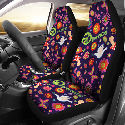 Flower Power Peace Design Print Universal Fit Car Seat Covers
