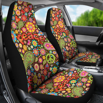 Flower Power Peace Paisley Themed Print Universal Fit Car Seat Covers