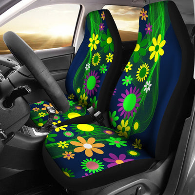 Flower Power Themed Design No1 Print Universal Fit Car Seat Covers