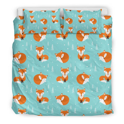 Fox Design Snow Print Pattern Duvet Cover Bedding Set