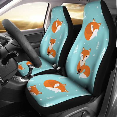 Fox Design Snow Print Pattern Universal Fit Car Seat Covers
