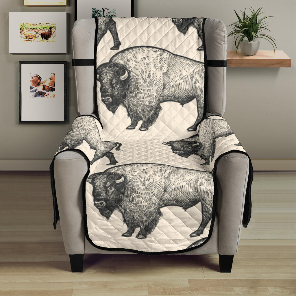 Bison Pattern Print Design 02 Armchair Cover Protector