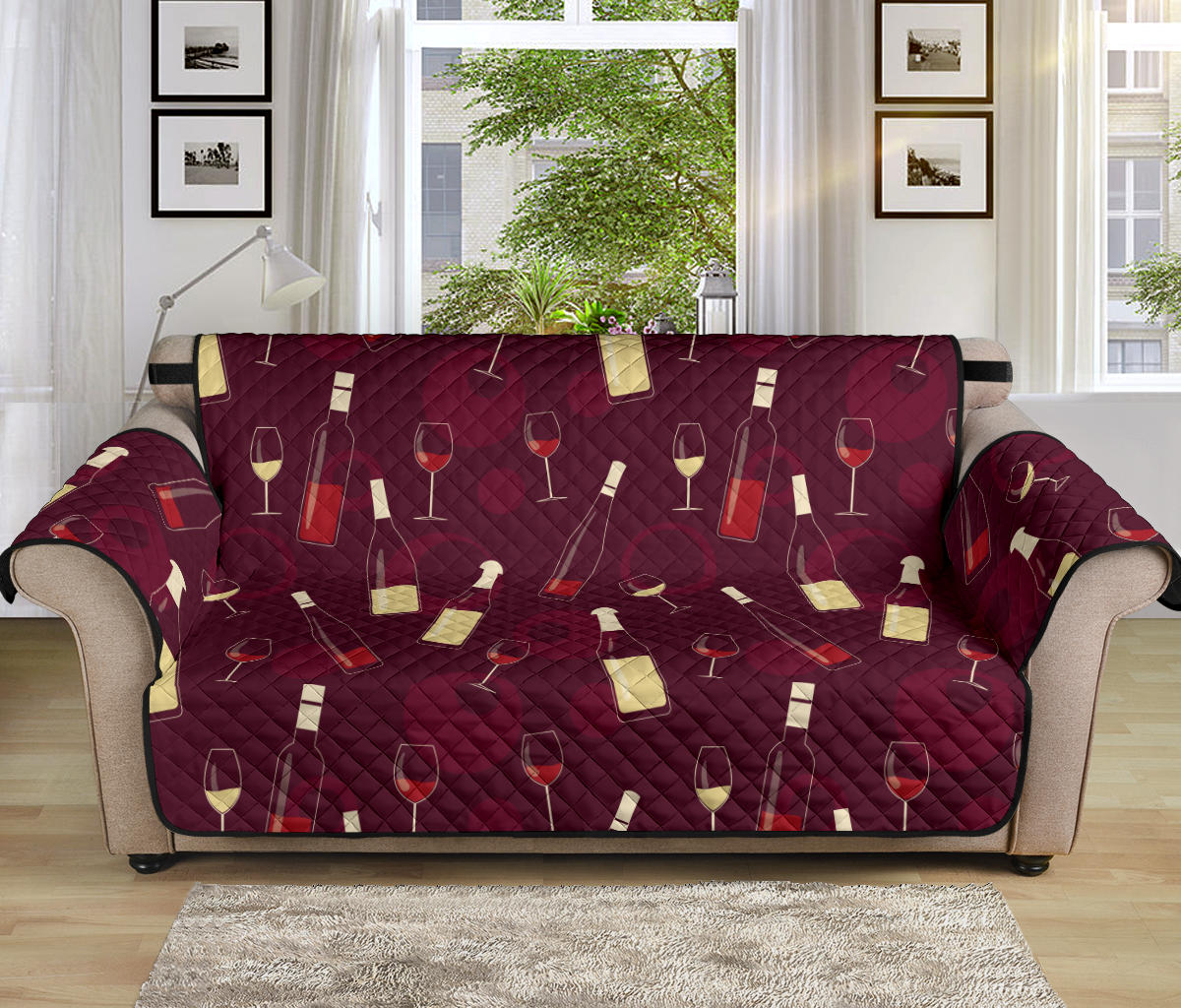 Wine Themed Pattern Print Sofa Cover Protector