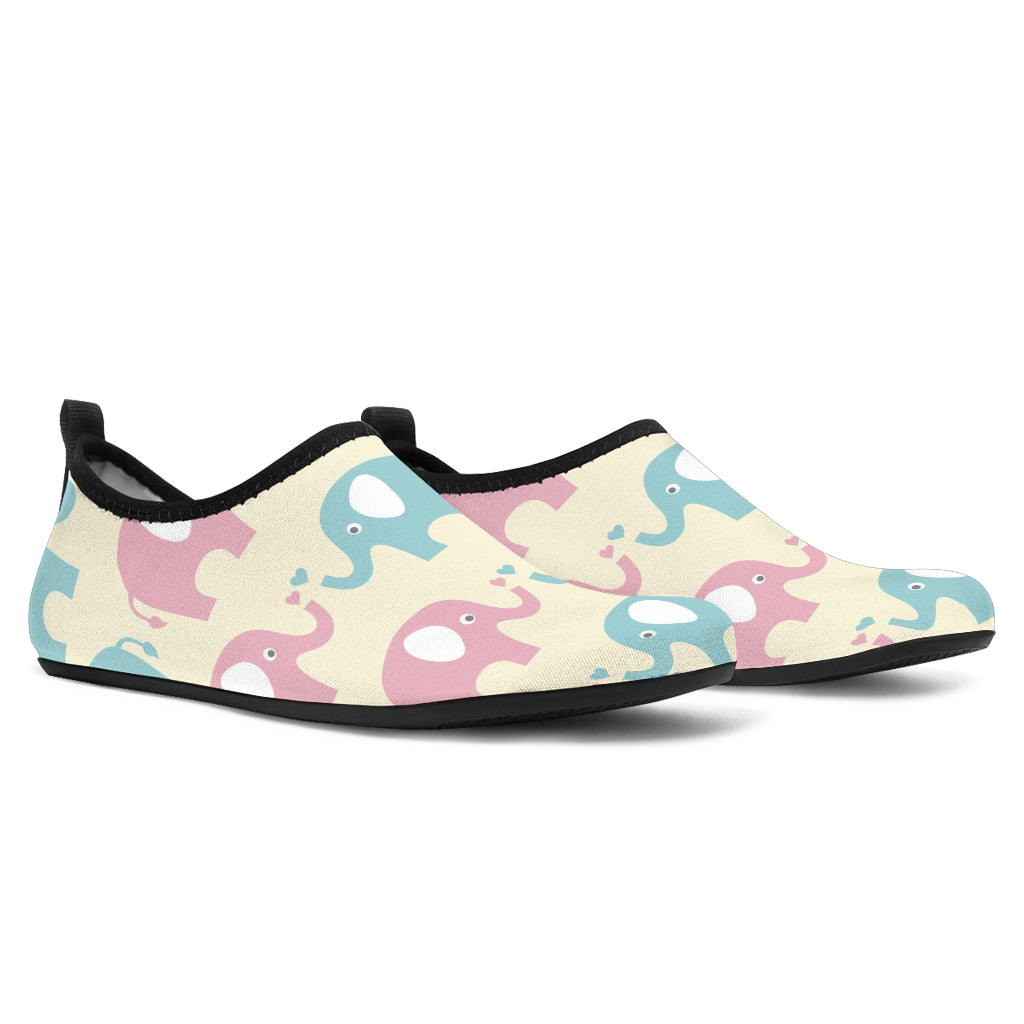 Elephant Baby Pastel Print Pattern Aqua Water Shoes
