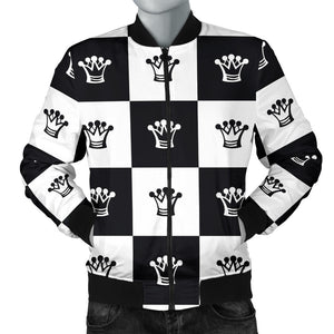 Checkered Flag Crown Pattern Men Bomber Jacket