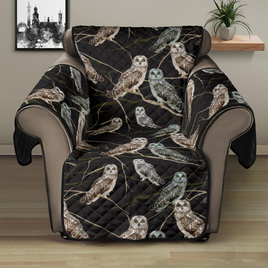 Owl Branch Themed Design Print Recliner Cover Protector