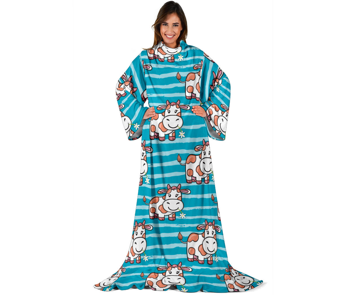 Cow Cute Print Pattern Adult Sleeve Blanket