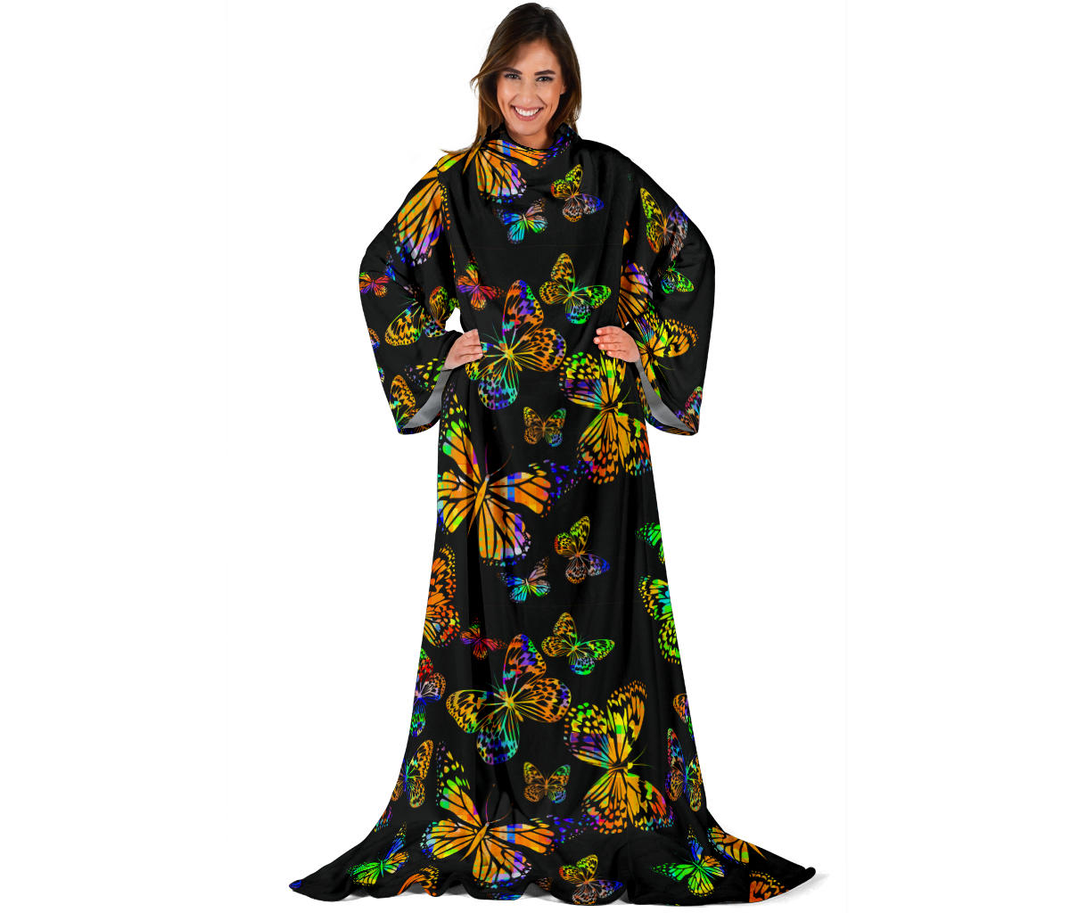 Butterfly Neon Color Print Pattern Adult Sleeve Blanket