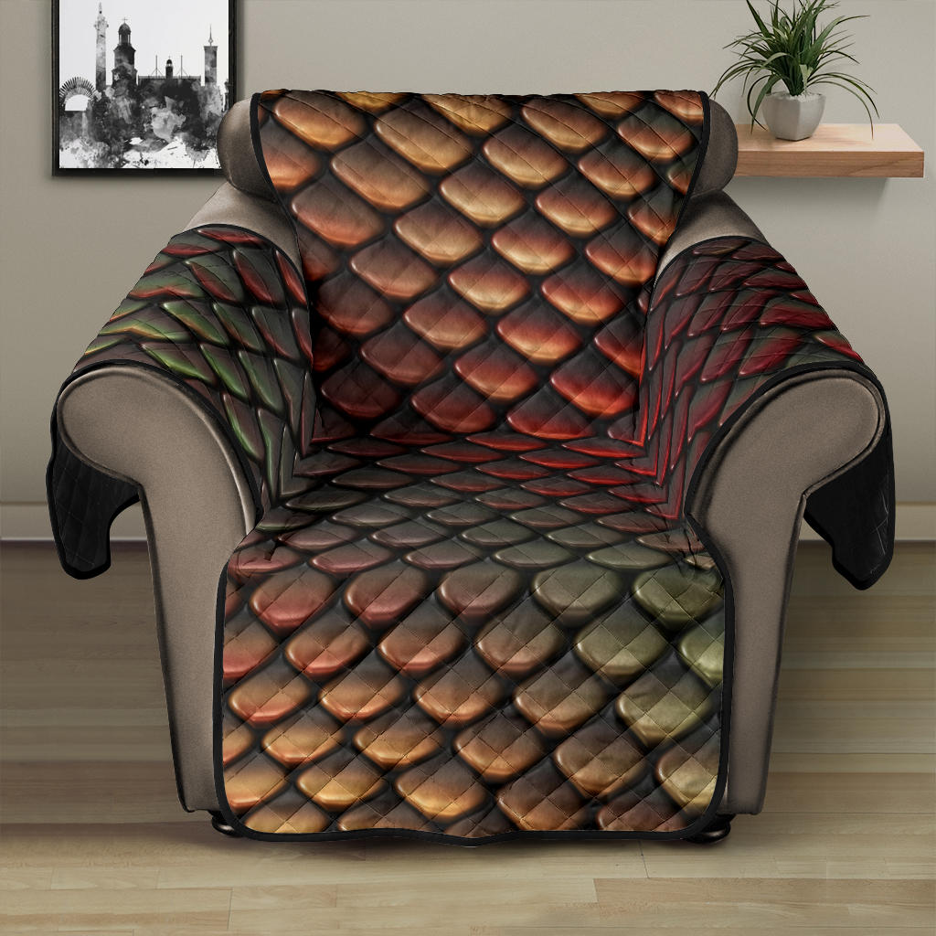Snake Skin Colorful Print Recliner Cover Protector