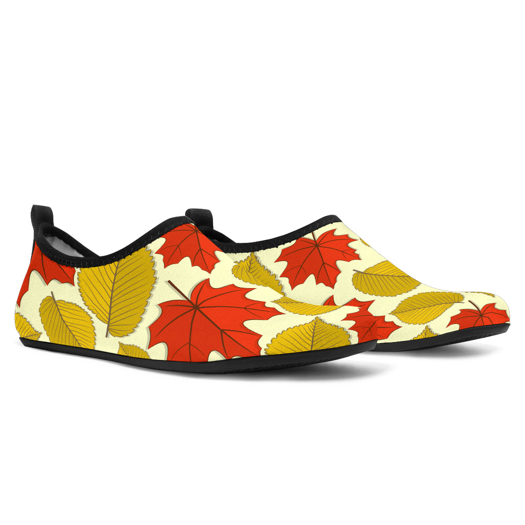 Elm Maple Leave Print Pattern Aqua Water Shoes