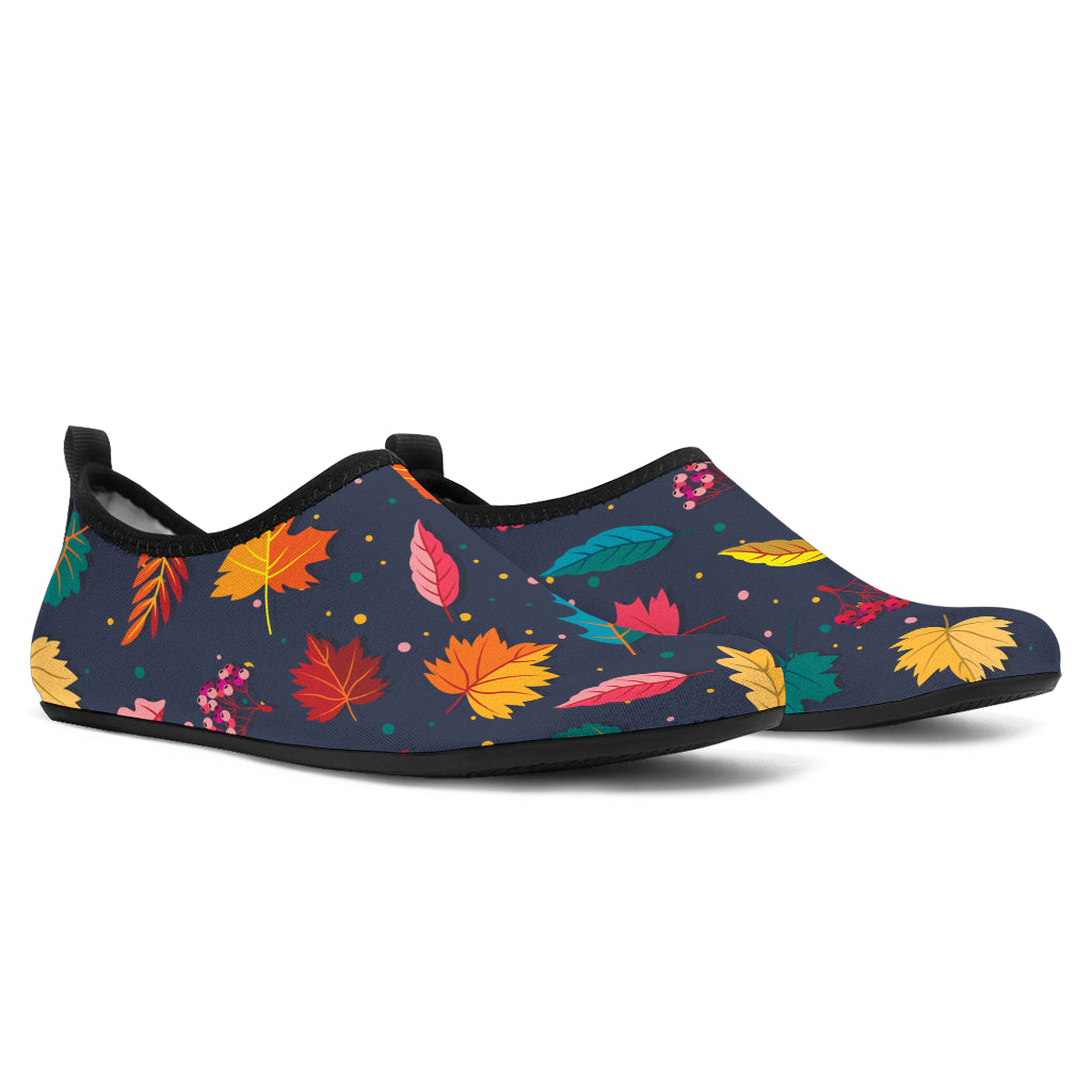 Elm Leave Colorful Print Pattern Aqua Water Shoes