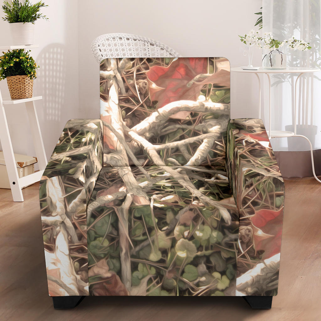 Camouflage Realistic Tree Authumn Print Armchair Slipcover