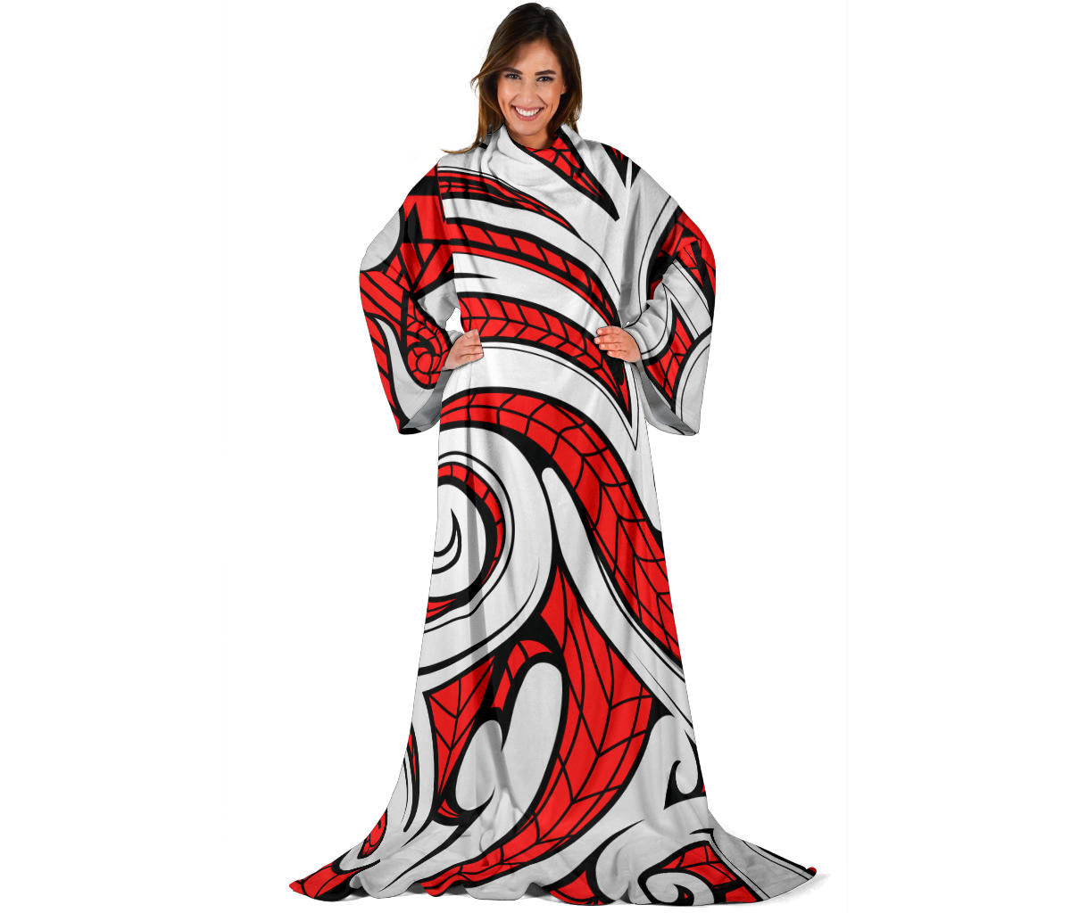 Maori Polynesian Themed Design Print Adult Sleeve Blanket