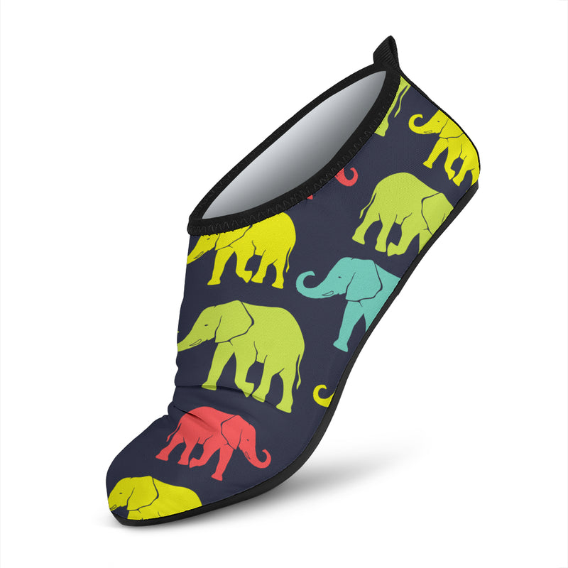 Elephant Neon Color Print Pattern Aqua Water Shoes