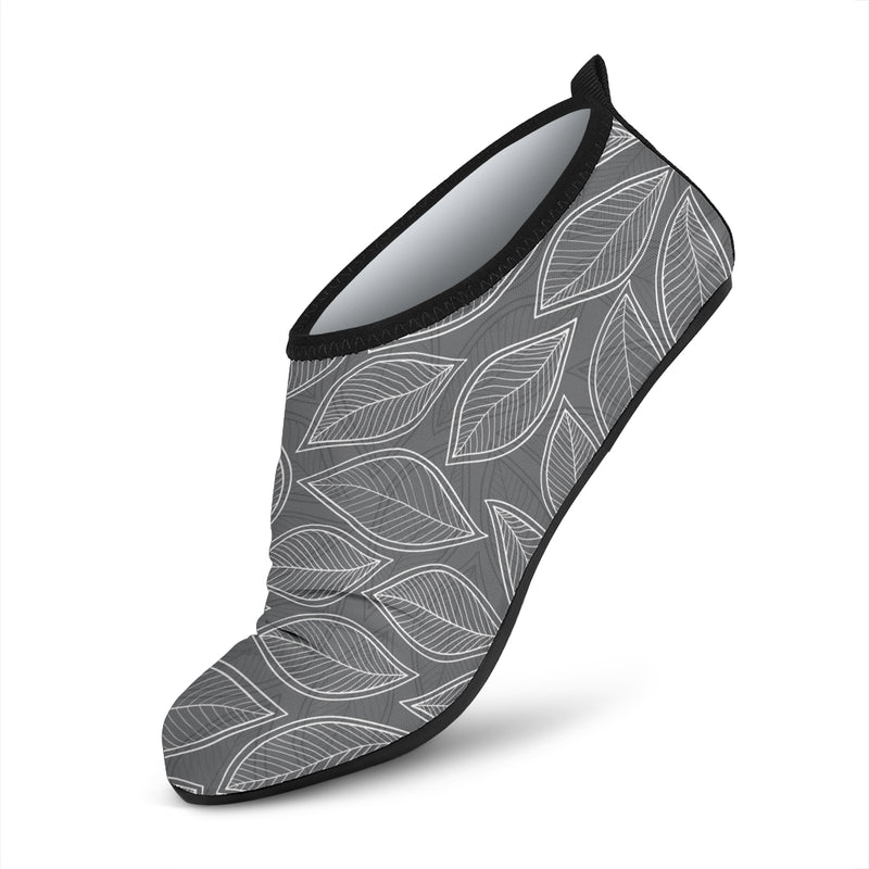 Elm Leave Grey Print Pattern Aqua Water Shoes