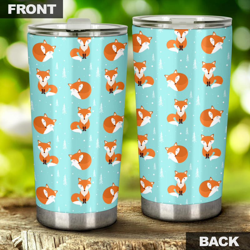 Fox Design Snow Print Pattern Tumbler