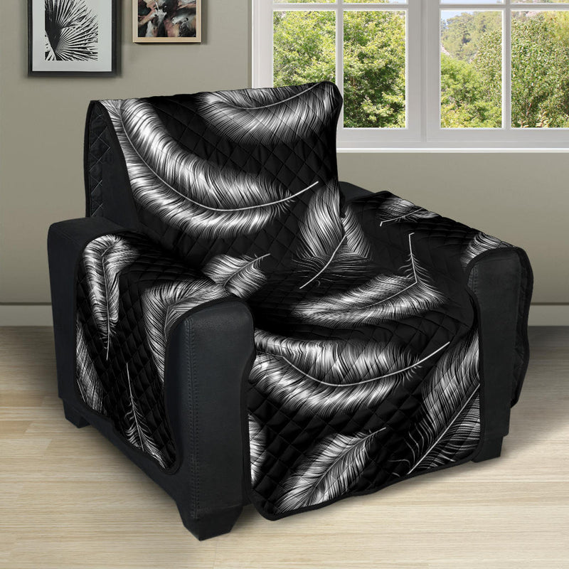 Feather Black White Design Print Recliner Cover Protector