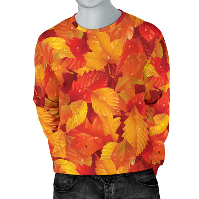 Elm Leave Autum Print Pattern Men Long Sleeve Sweatshirt