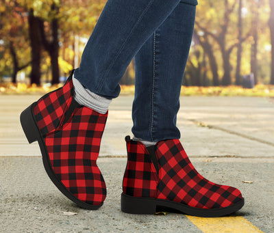 Red Black Buffalo Tartan Plaid Pattern Ankle Boots