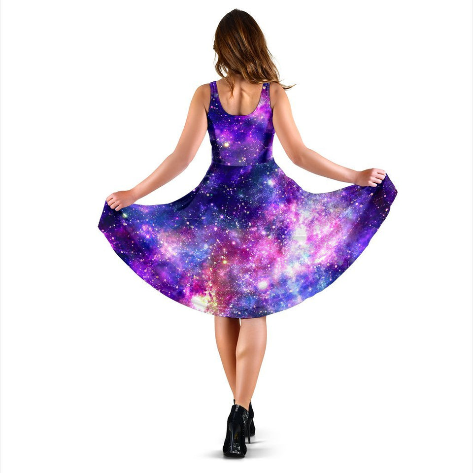 Galaxy Night Stardust Space Print Sleeveless Dress