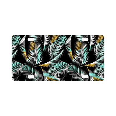 Gold Glitter Cyan Tropical Palm Leaves Classic License Plate-JTAMIGO.COM