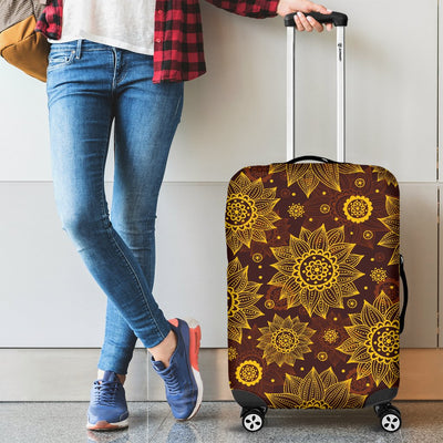 Gold Sunflower Hand Drawn Print Luggage Cover Protector