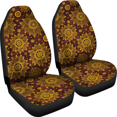 Gold Sunflower Hand Drawn Print Universal Fit Car Seat Covers