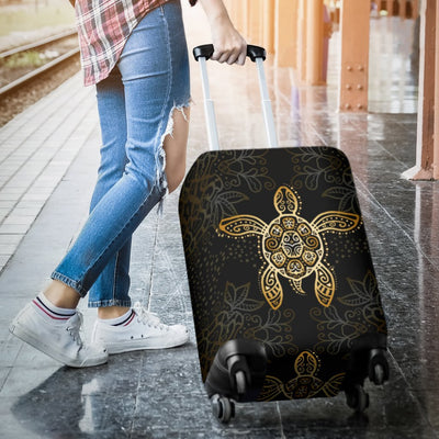 Gold Tribal Turtle Polynesian Design Luggage Cover Protector