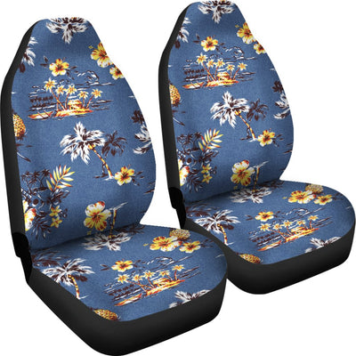 Hawaiian Flower Blue Print Universal Fit Car Seat Covers